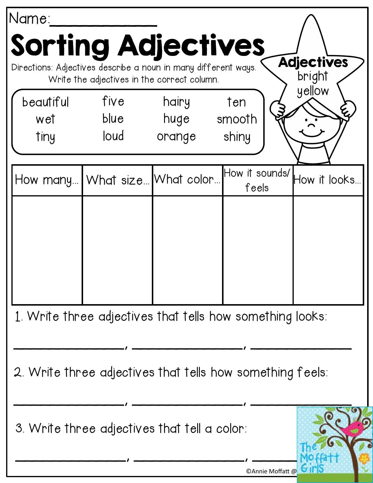 Sorting Adjectives Adjectives Describe A Noun In Many Different Ways Write The Adjectives In