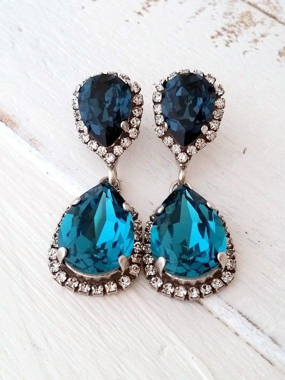 Navy Blue And Teal Chandelier Earrings Drop Dangle Bridal