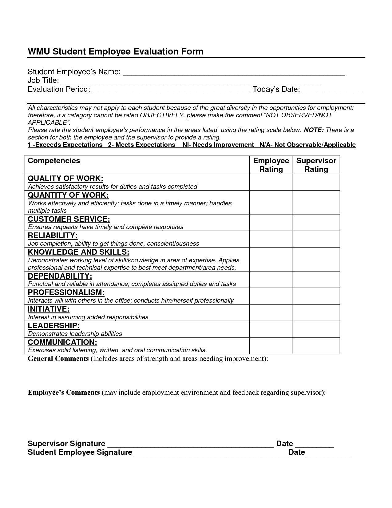 Sample Employee Evaluation Forms