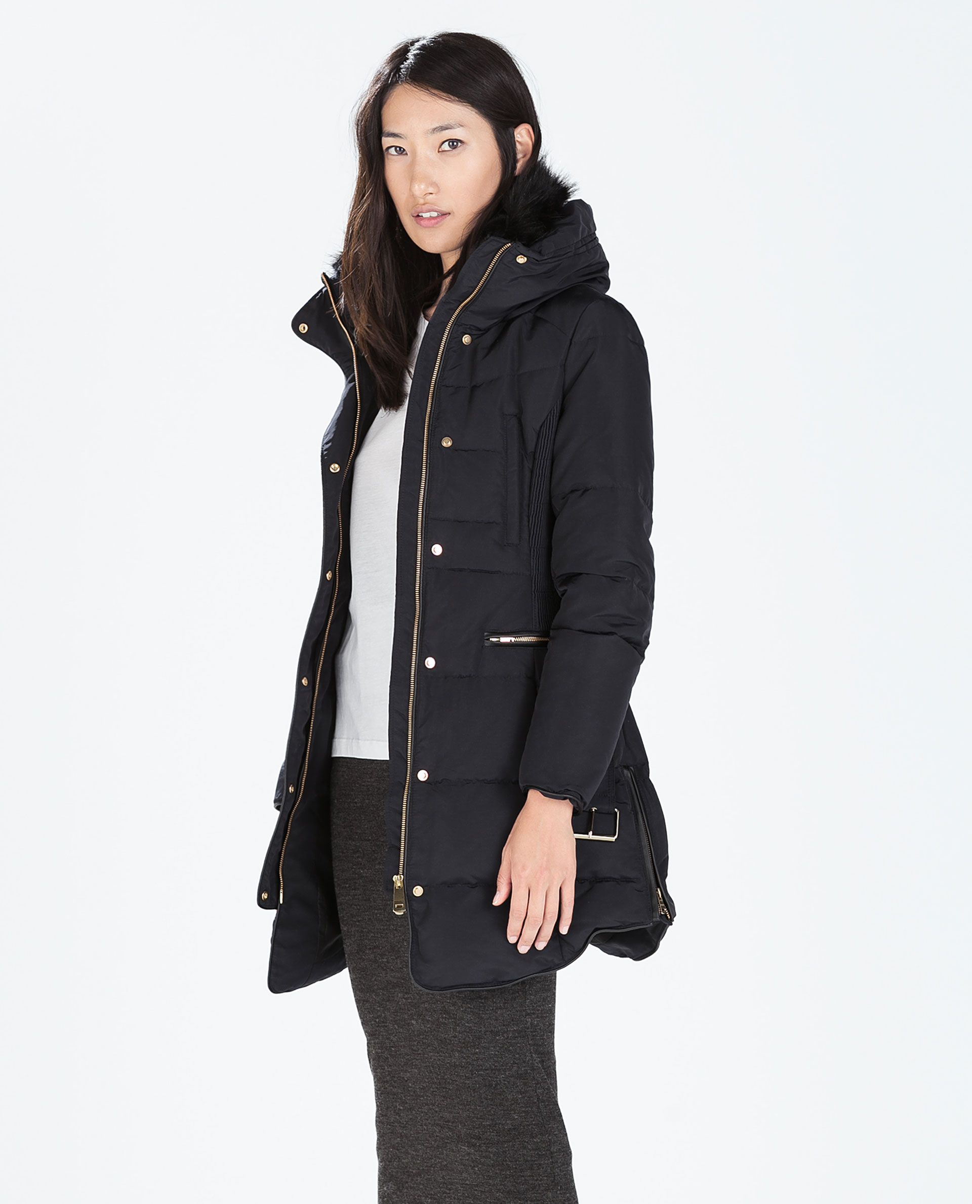 Image 1 of LONG DOWN ANORAK WITH FUR COLLAR from Zara