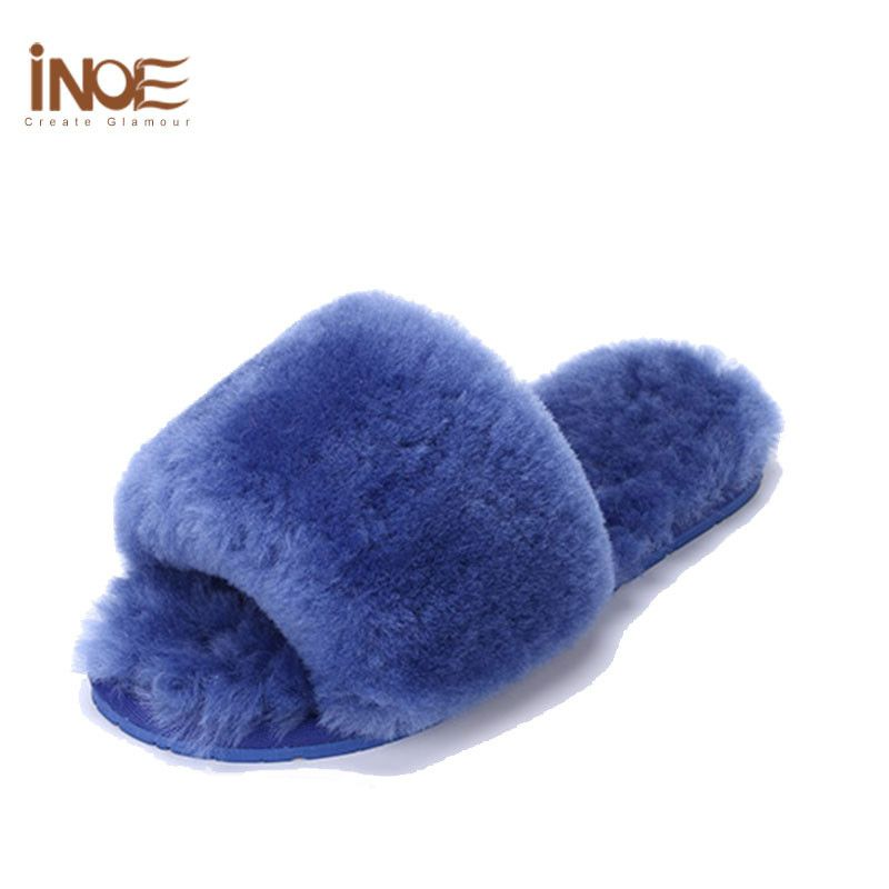 new arrival sheepskin leather bedroom slippers women s shoes