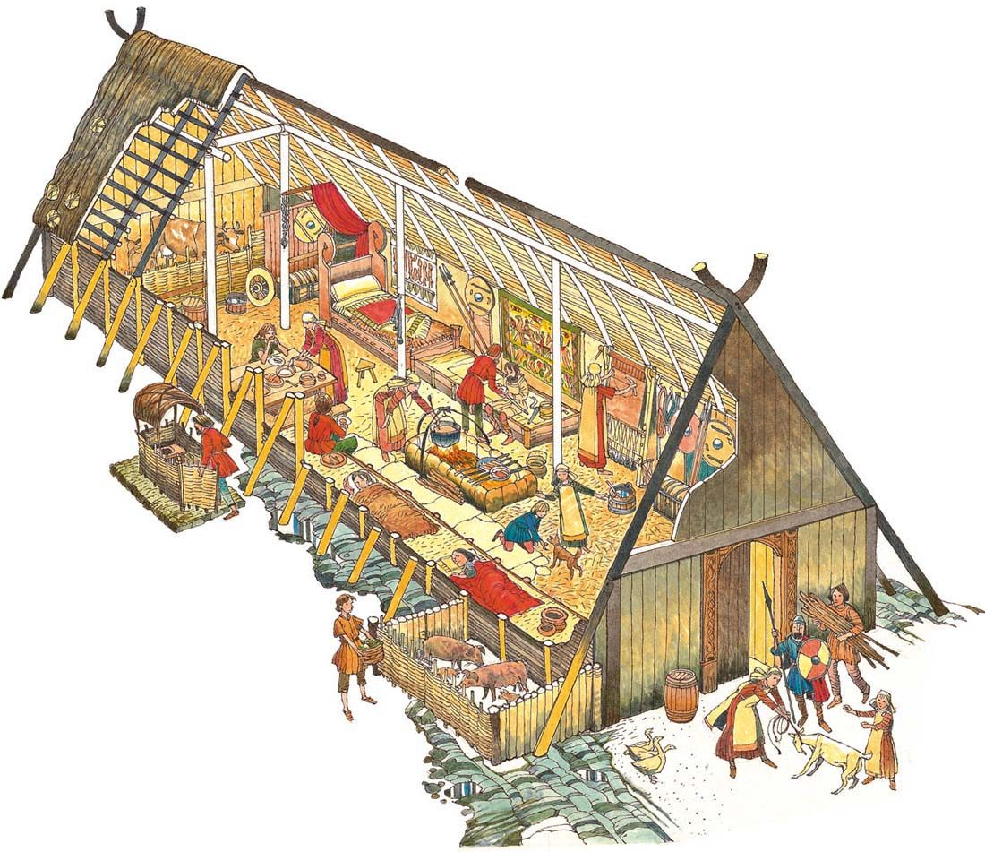 Cutaway Picture Of A Viking House E Door Is In The
