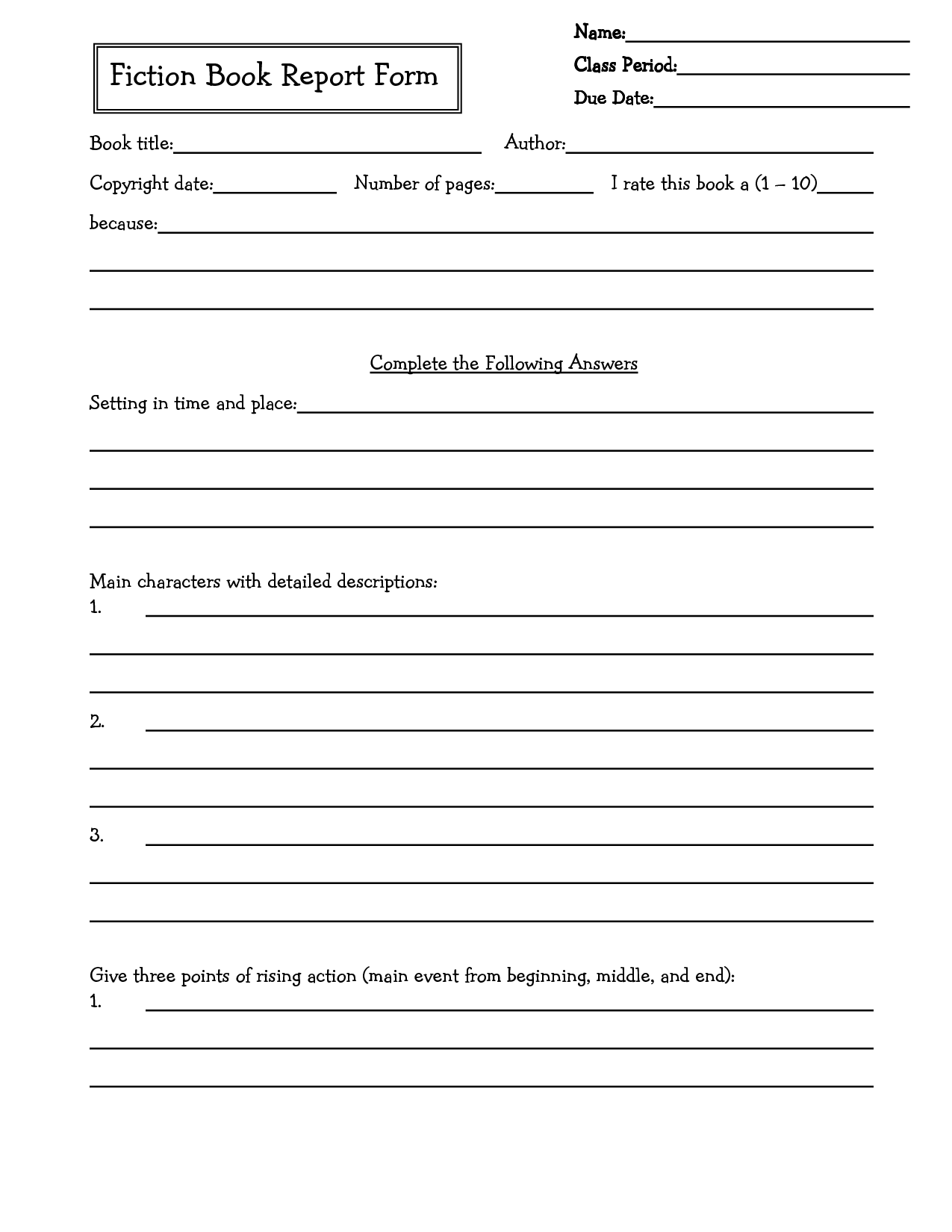 Middle School Book Report Brochure 6th Grade