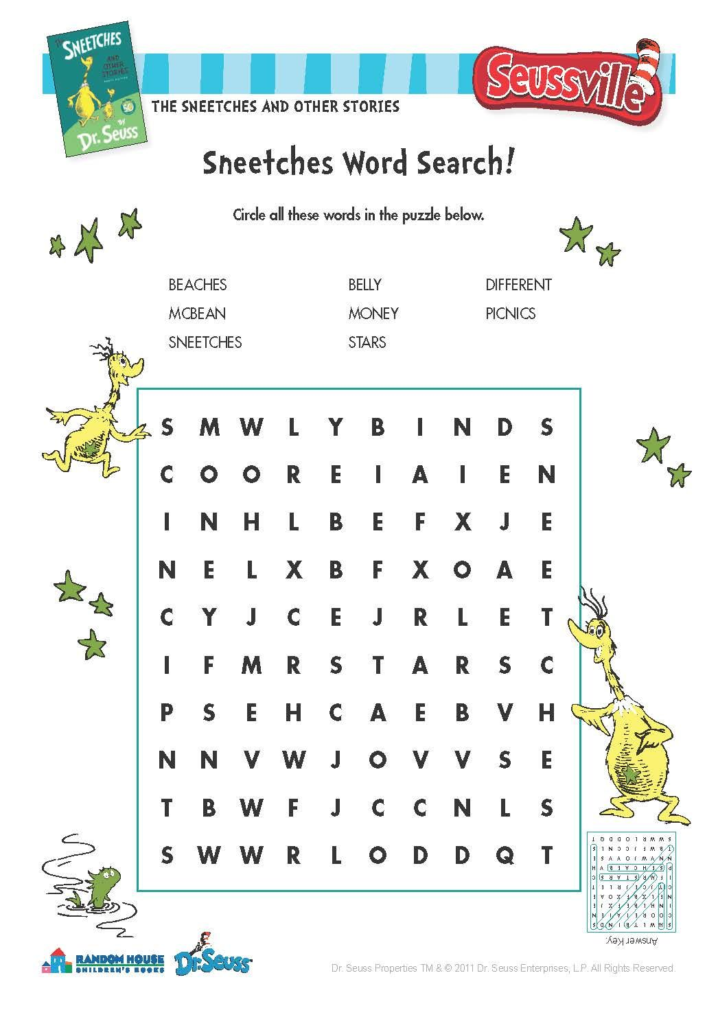 The Sneetches Word Search