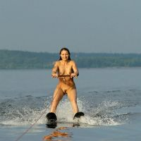Nudist idea #67: Waterski in your birthday suit