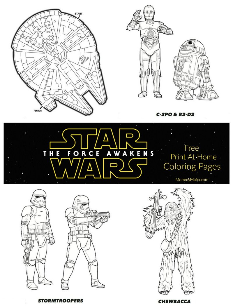 Free Print at home Star Wars The Force Awakens coloring