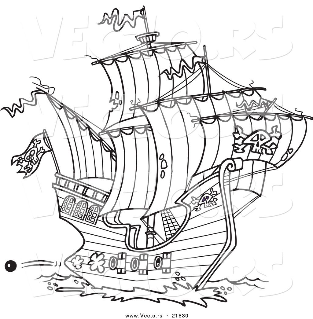 Vector Of A Cartoon Pirate Ship Shooting Cannons Outlined