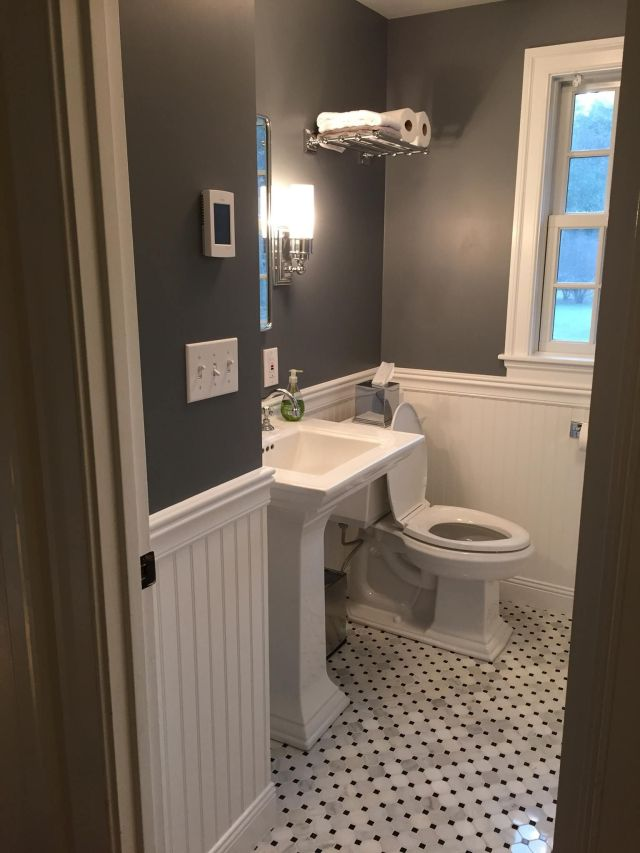 Tiny bathroom remodel Paint is Rock Gray by Benjamin Moore Tile