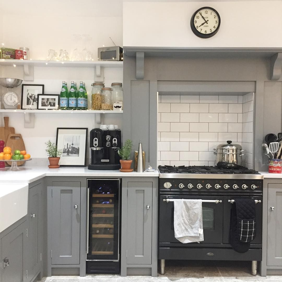 Grey & White Country Kitchen Open Kitchen Shelves