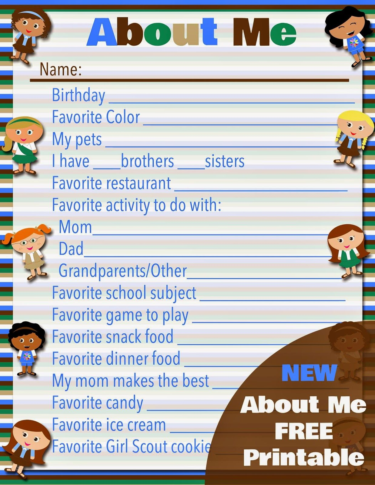 Free Printable Girl Scouts About Me