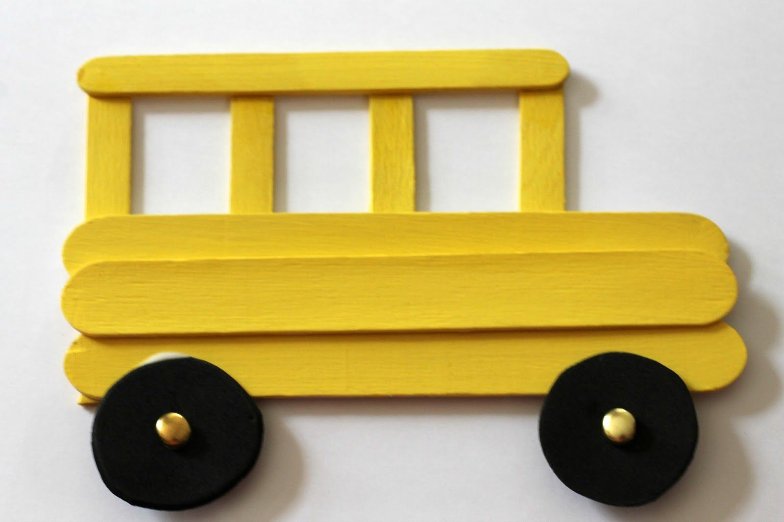 This Craft Stick School Bus Frame Is Easy For Kids To Make