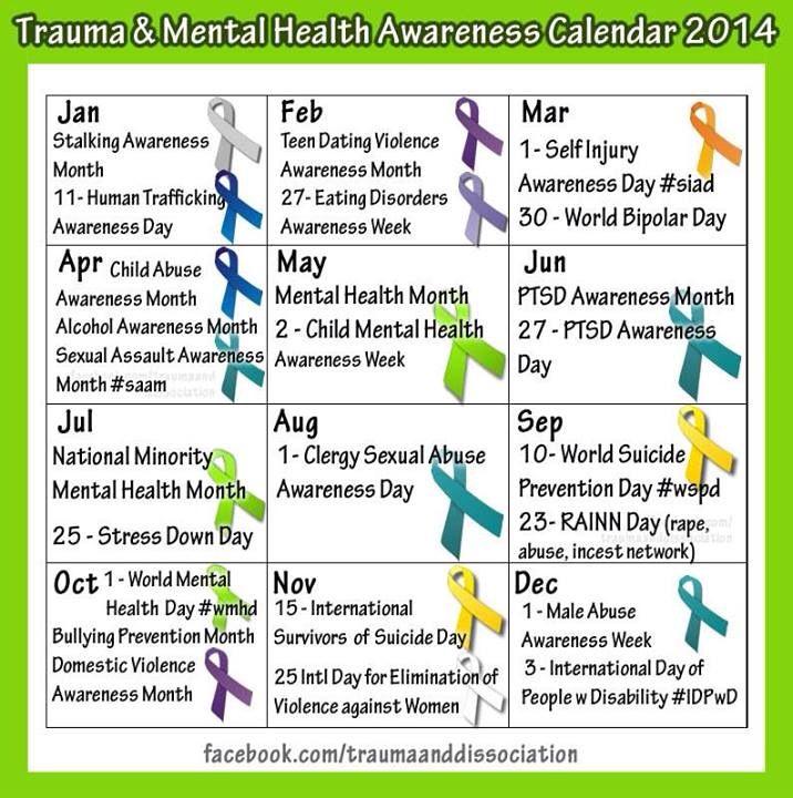Mental Health Awareness Calendar PTSD,Trauma, CSA.