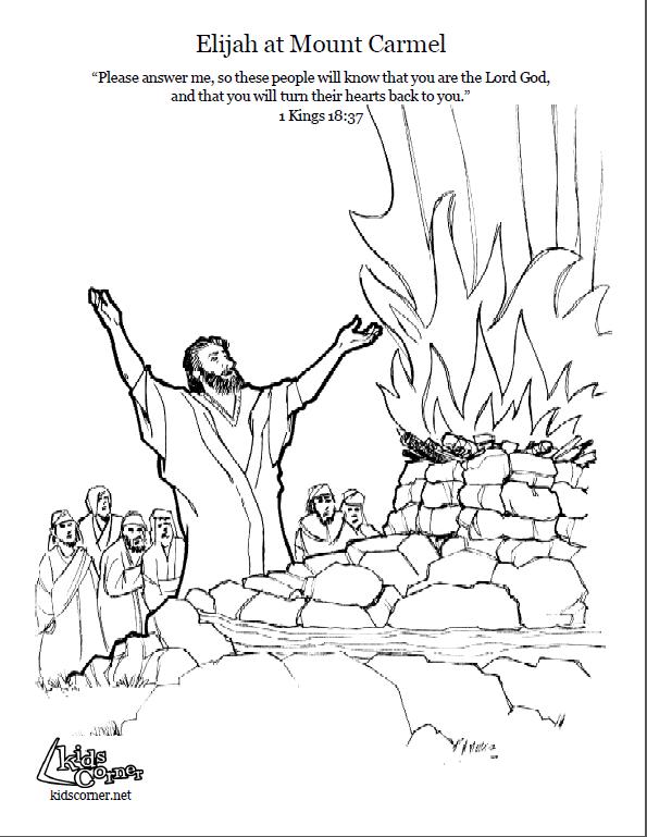 elijah on mount carmel. coloring page script and bible
