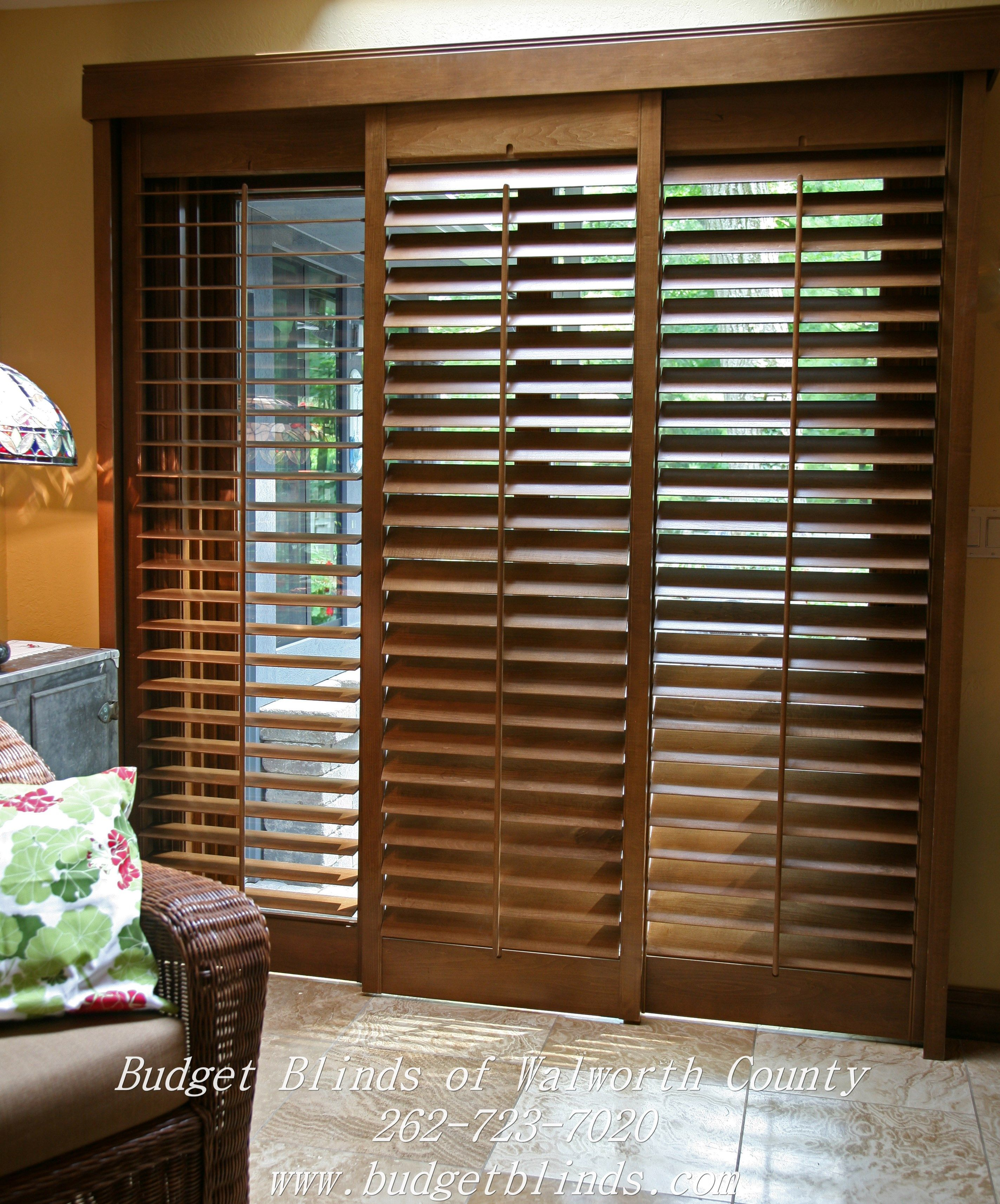 Bypass shutters are a great option for a patio door