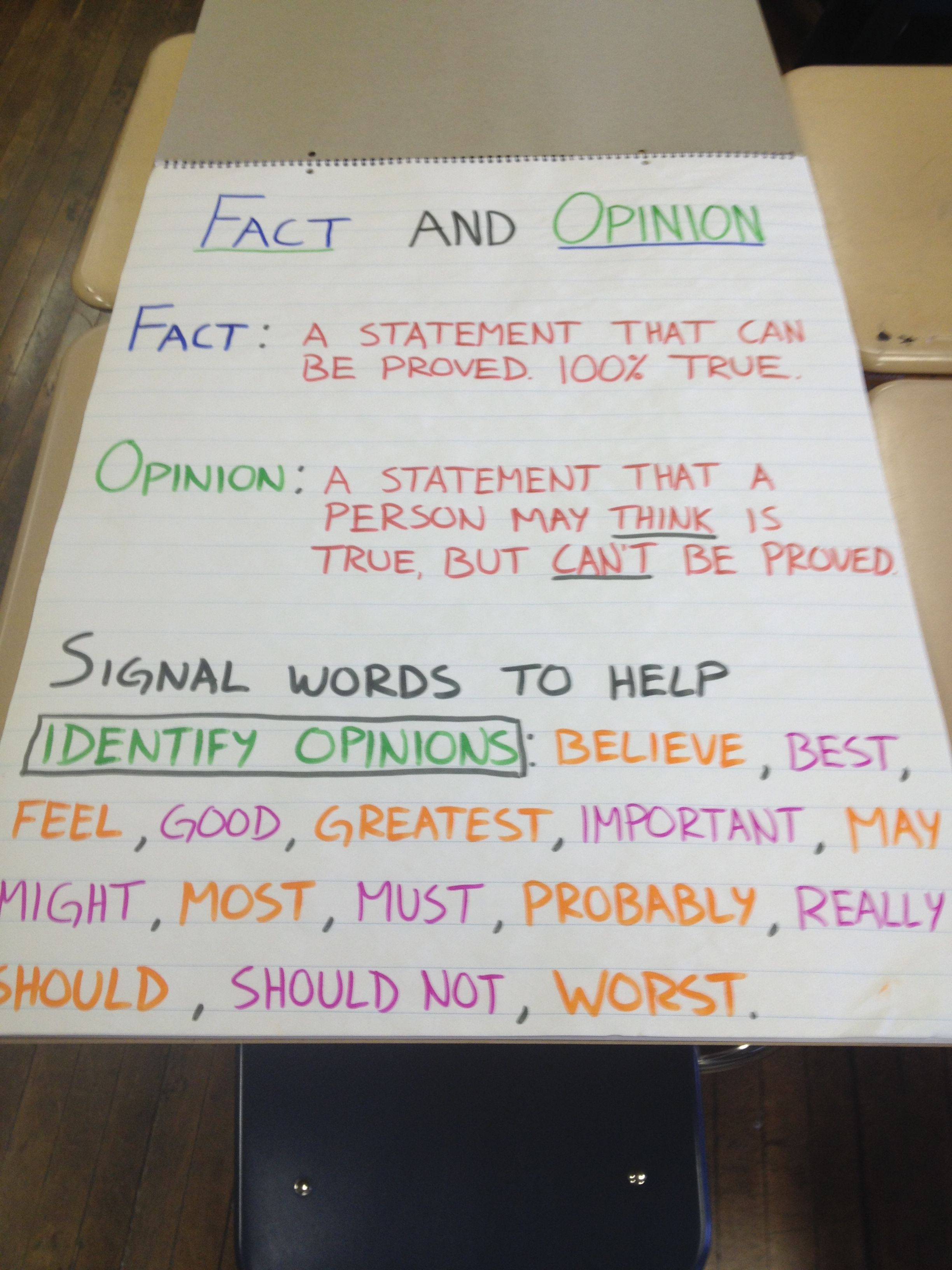 Fact And Opinion Chart With Signal Words