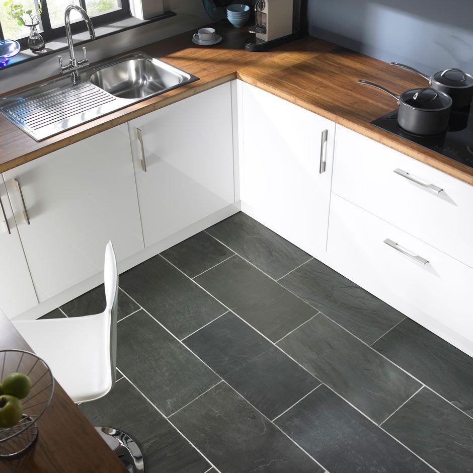 modern gray kitchen floor tile idea and wooden countertop