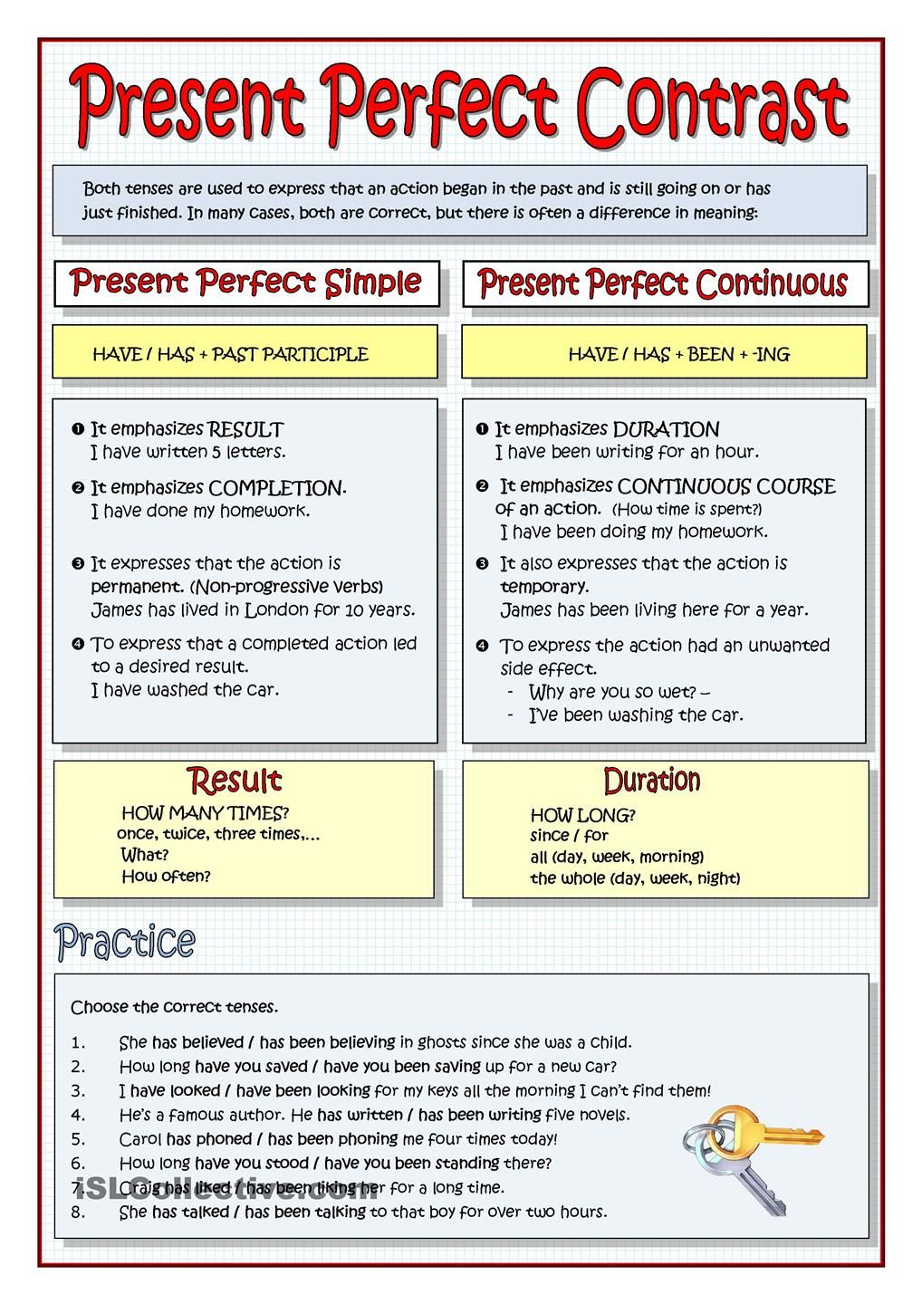PRESENT PERFECT CONTRAST the present perfect Pinterest