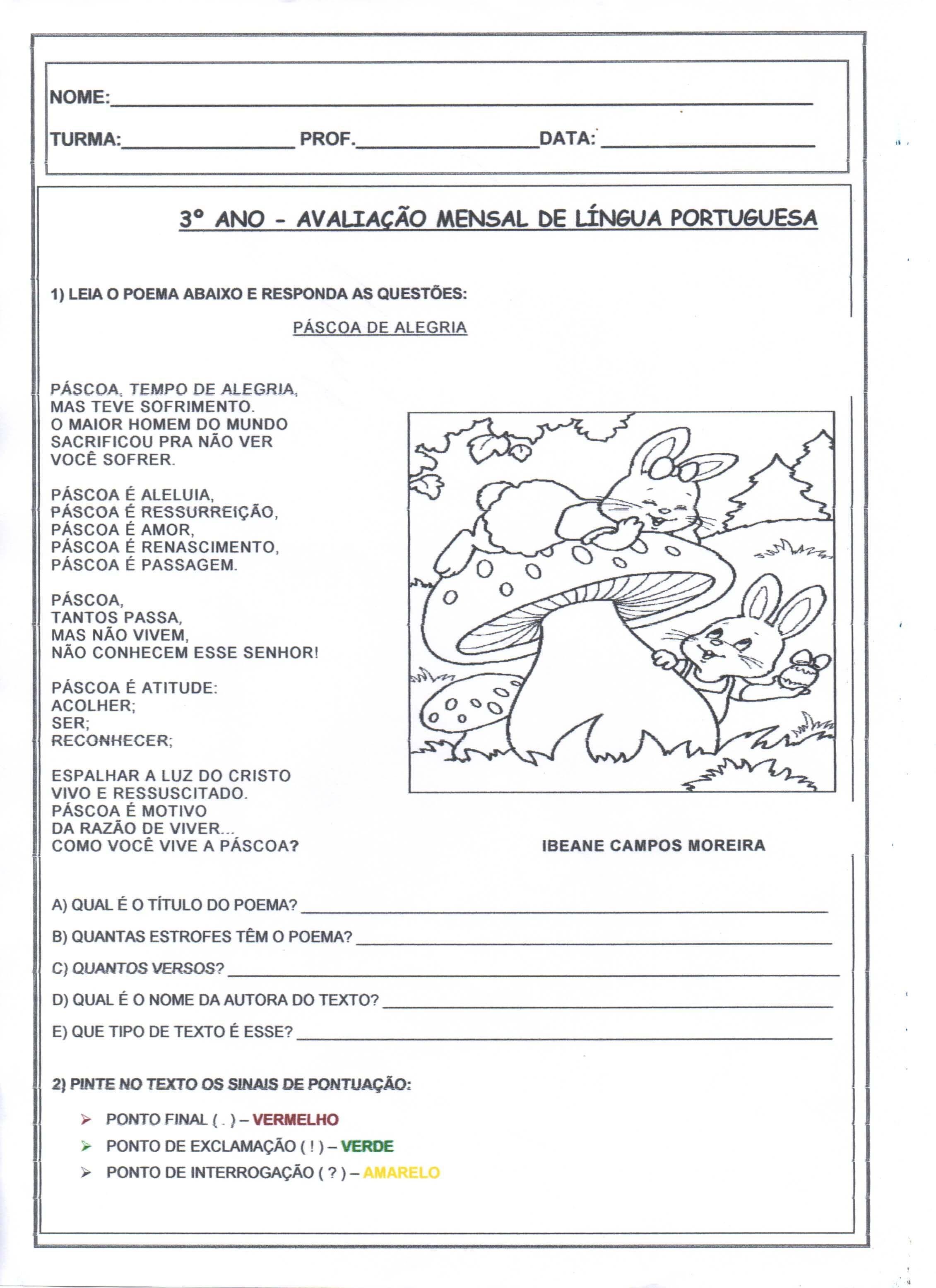 Avaliacao De Lingua Portuguesa 3 Ano Folha 14 4 1
