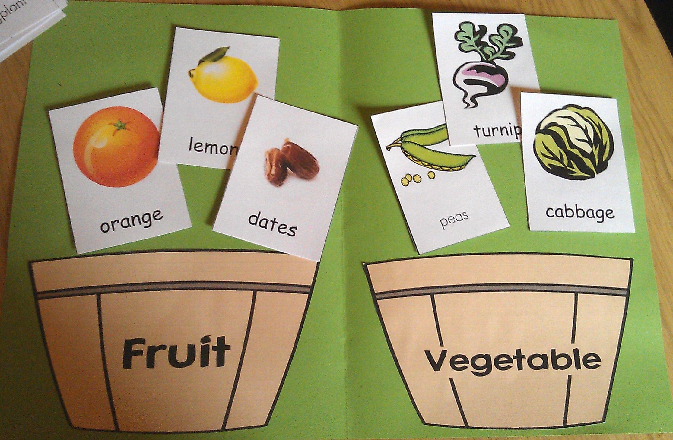 Fruit And Vegetables File Folder Game