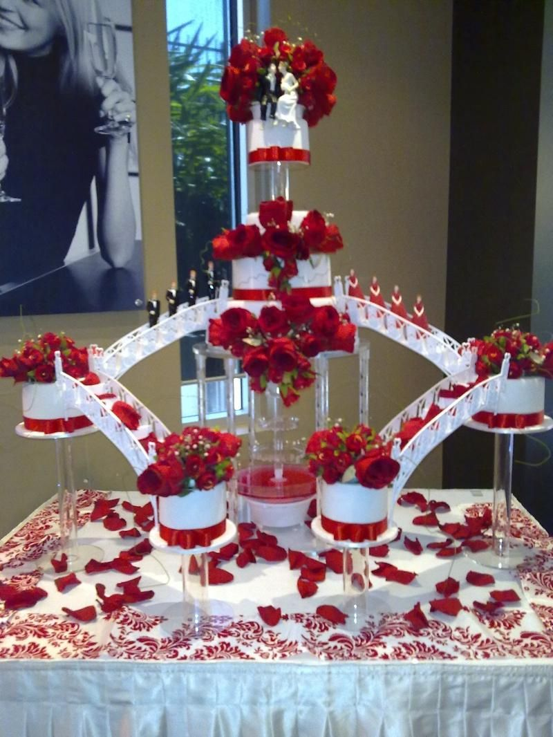 Wedding Cakes with Fountains red wedding cakes with
