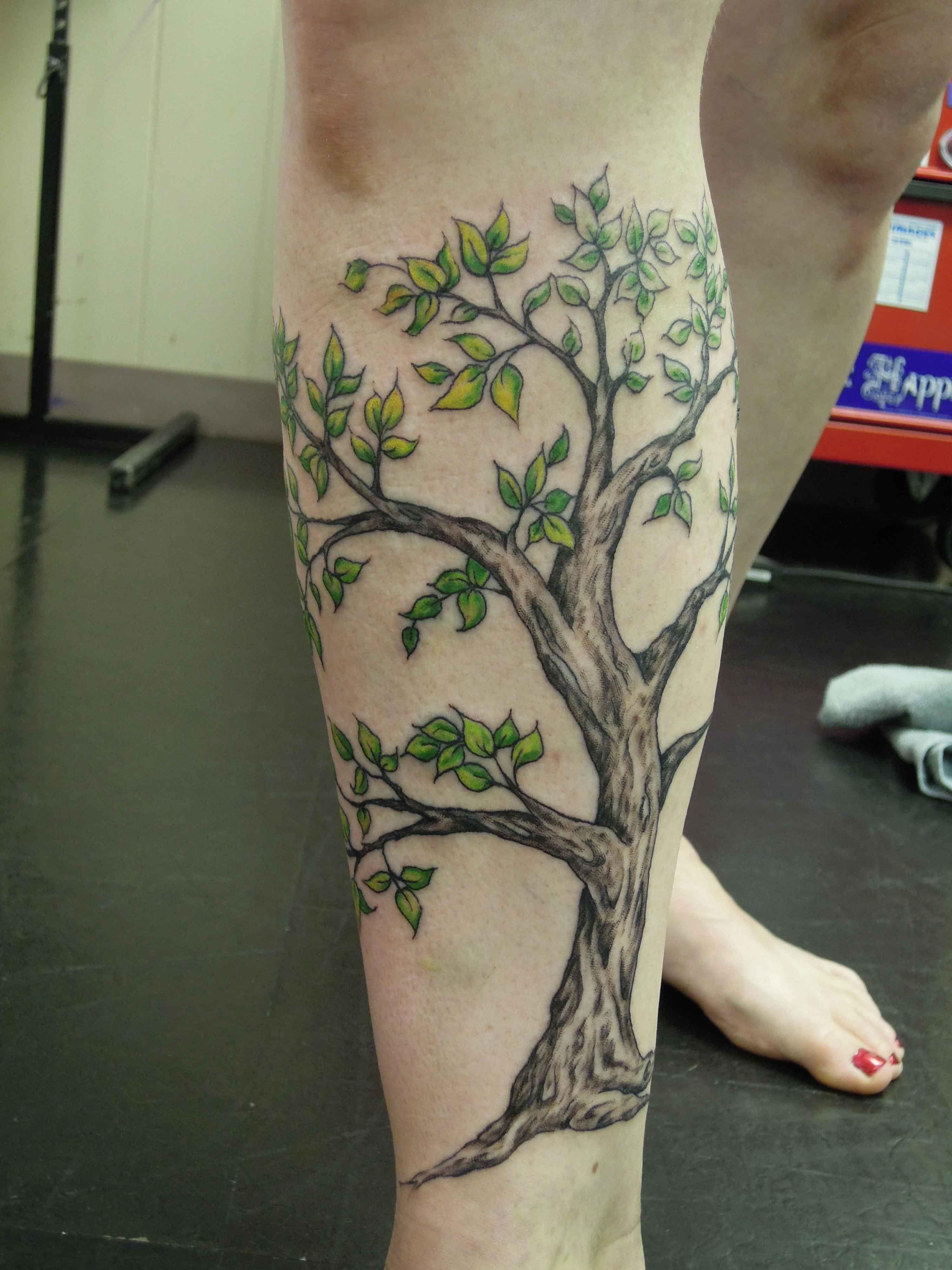 Tree Tattoos On Lower Leg Leg tree tattoo design Tattoo