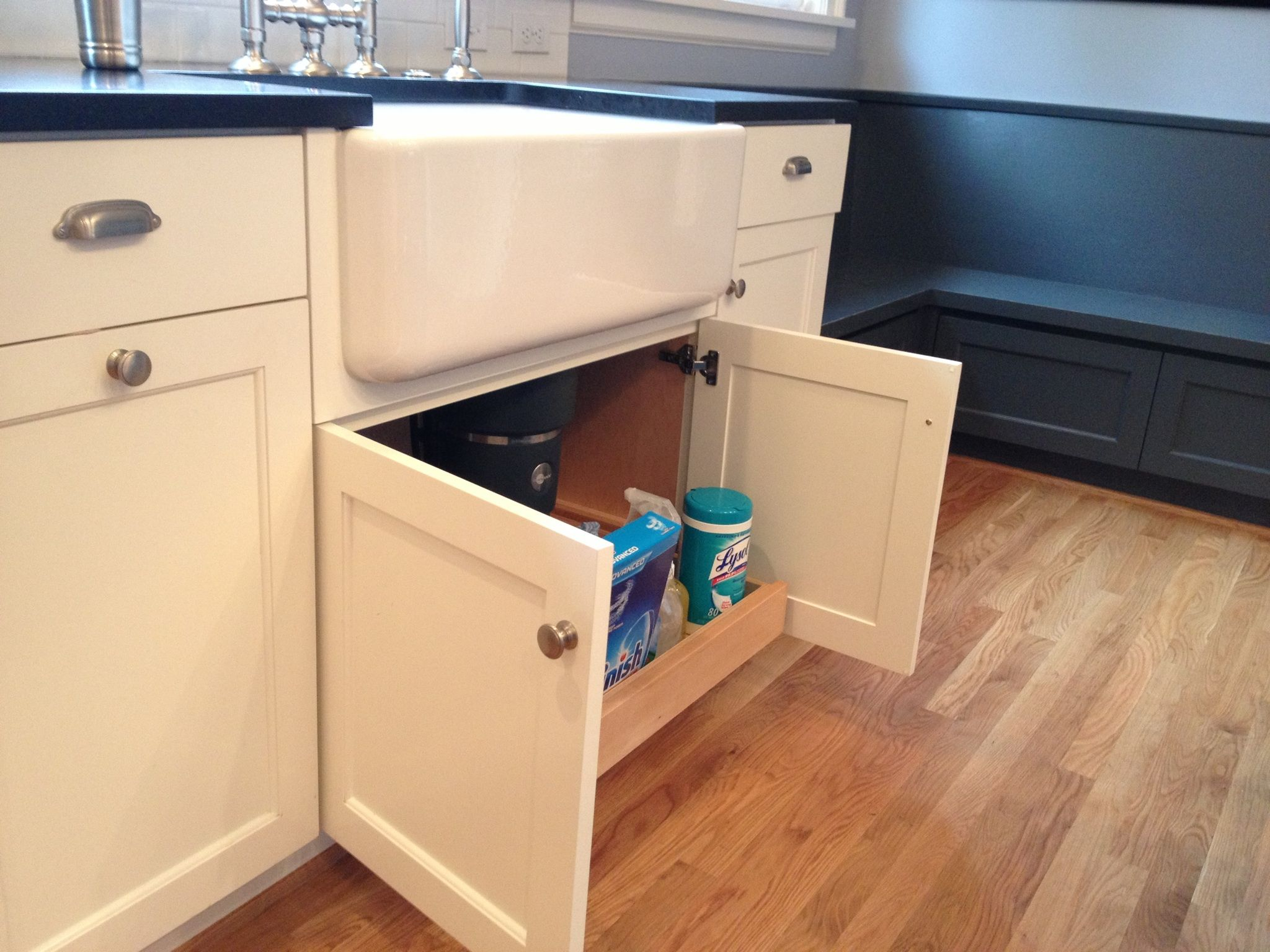 Custom White Cabinets With Farmhouse Sink Pull-out Under