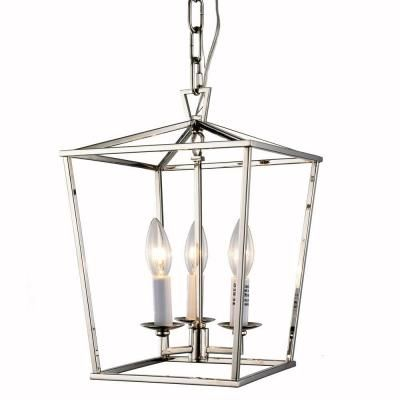Elegant Lighting Denmark 3 Light Polished Nickel Pendant 1422d9pn The Home Depot