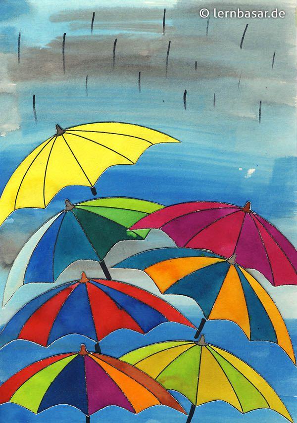 Schmuddelwetter Farbenfrohe Regenschirmparade