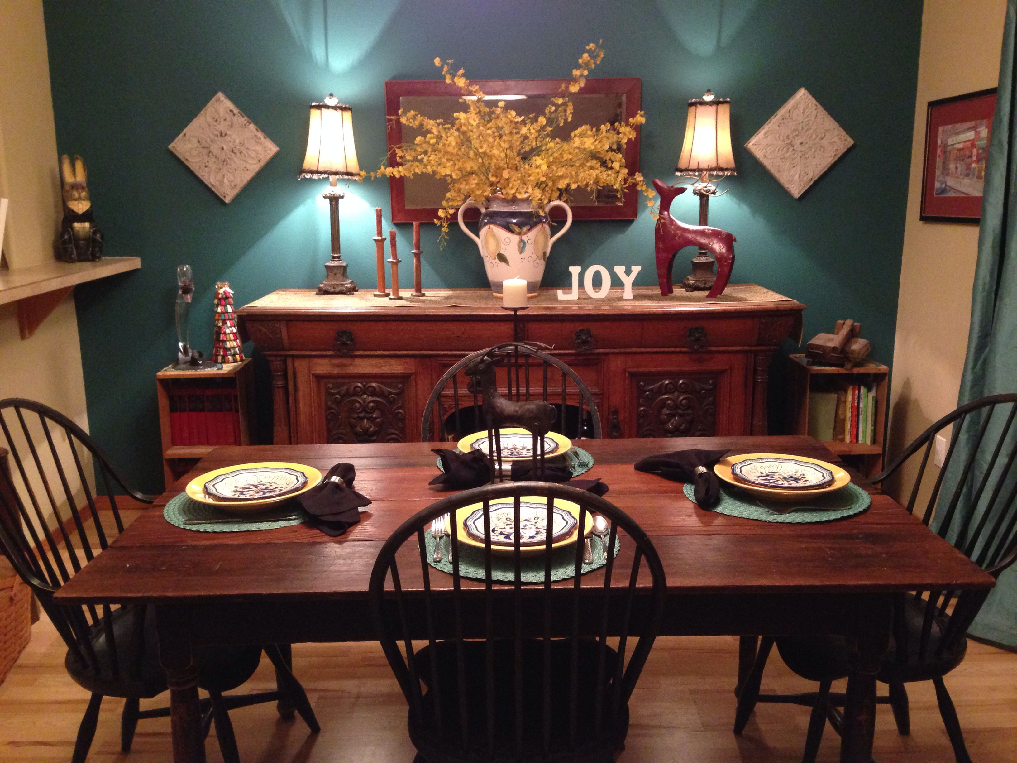 Dining Room Teal Accent Wall, Teal Drapes