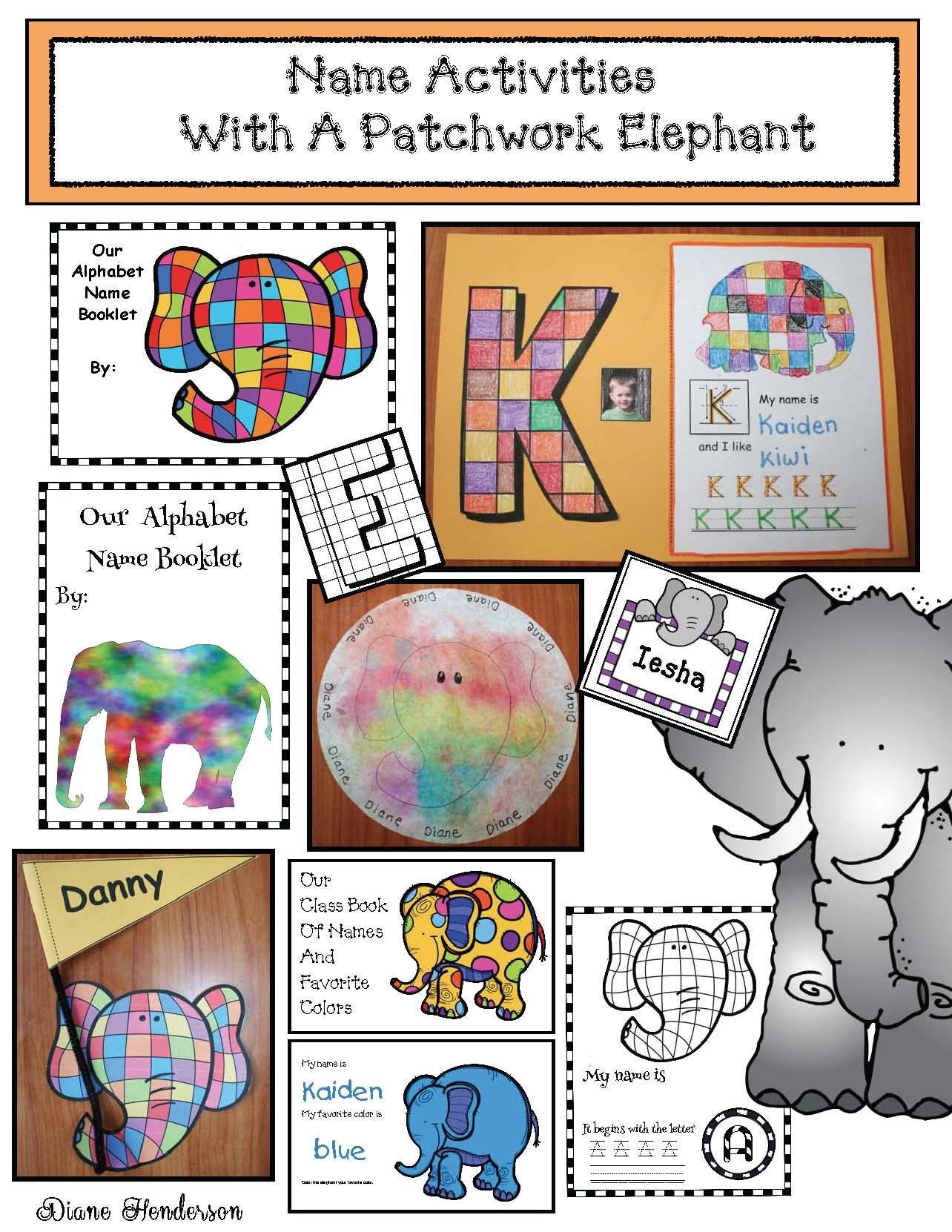 Elmer The Elephant Activities Name Writing Activities Name Writing Crafts Back To School Name