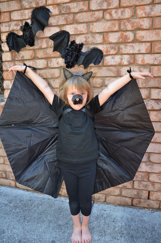 DIY Bat Wings made from an Umbrella No Sew! A Toddler