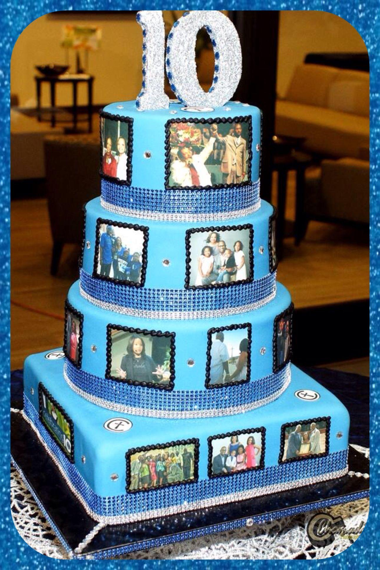 Custom 10 year pastor and wife anniversary cake. Concord