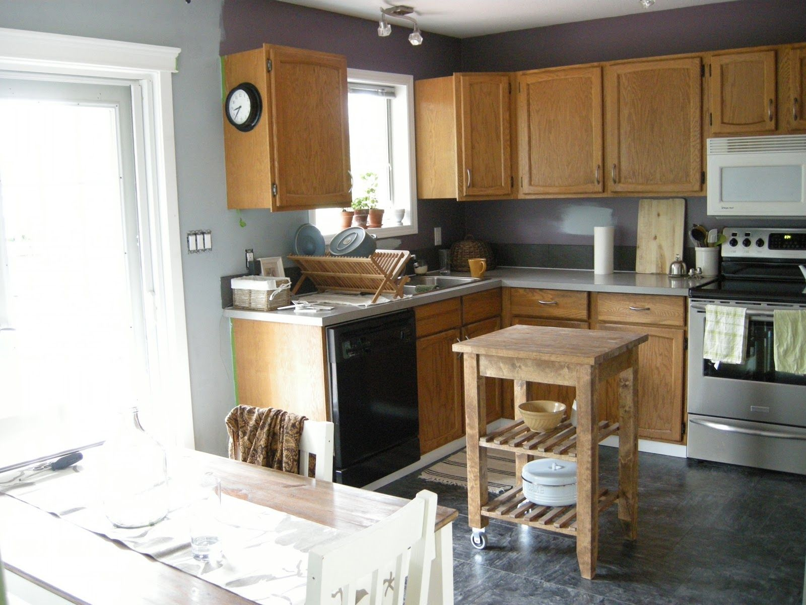 blue gray kitchen walls Kitchen Wall Colors with Oak