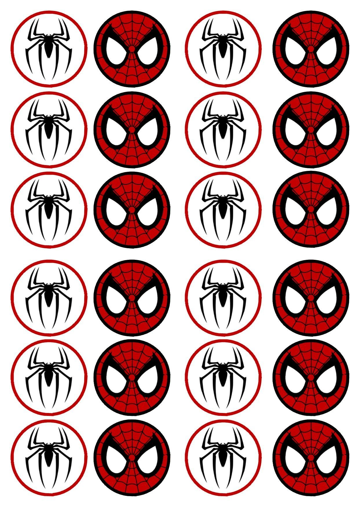 free printable cupcake wrappers and toppers with spiderman
