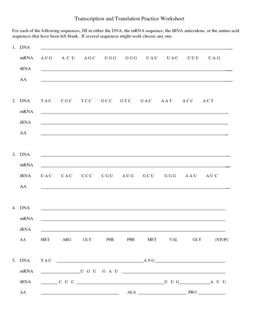 Dna Coloring Transcription And Translation Worksheet Answer Key ...