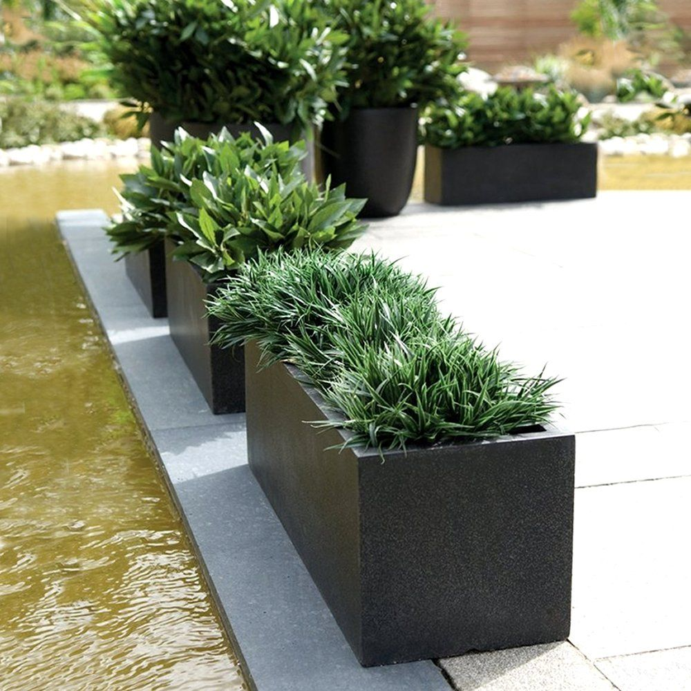 Rectangular Planters Cadix Black Low Rectangular