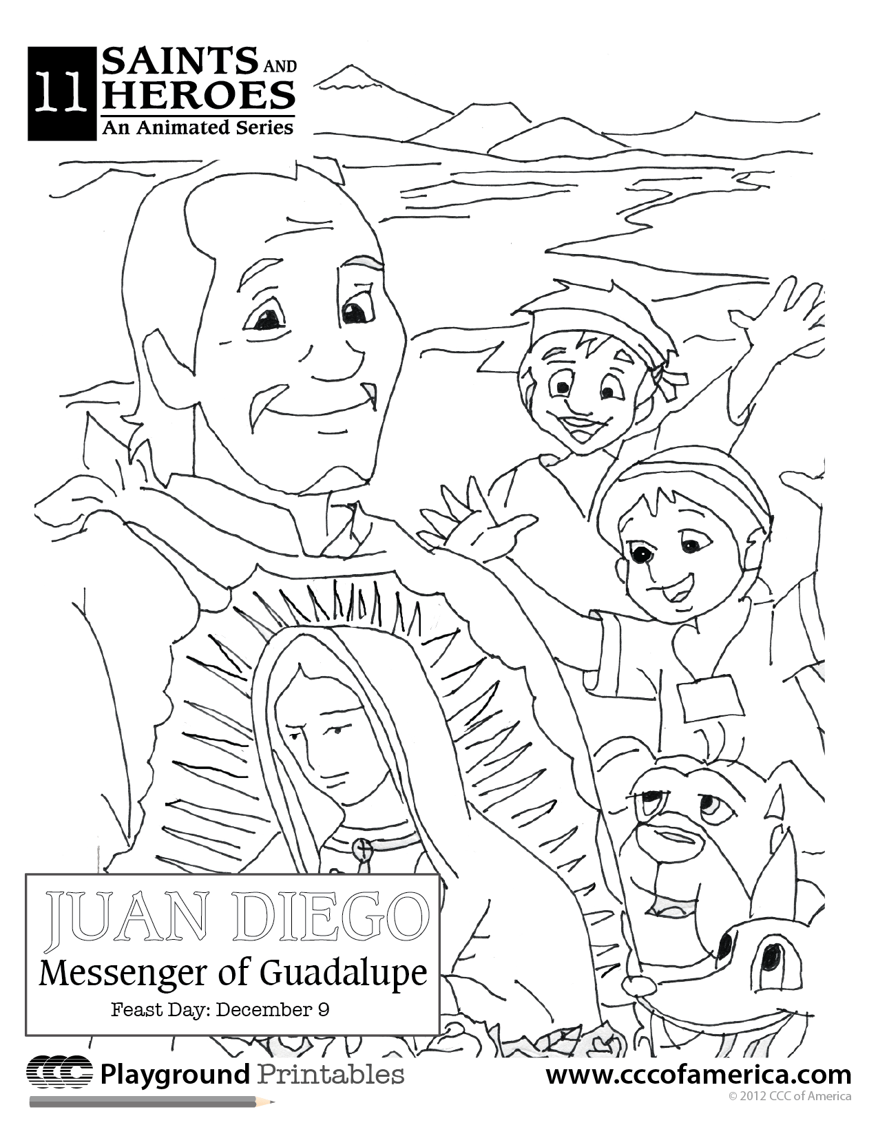 Our Lady Of Guadalupe And St Juango Coloring Page