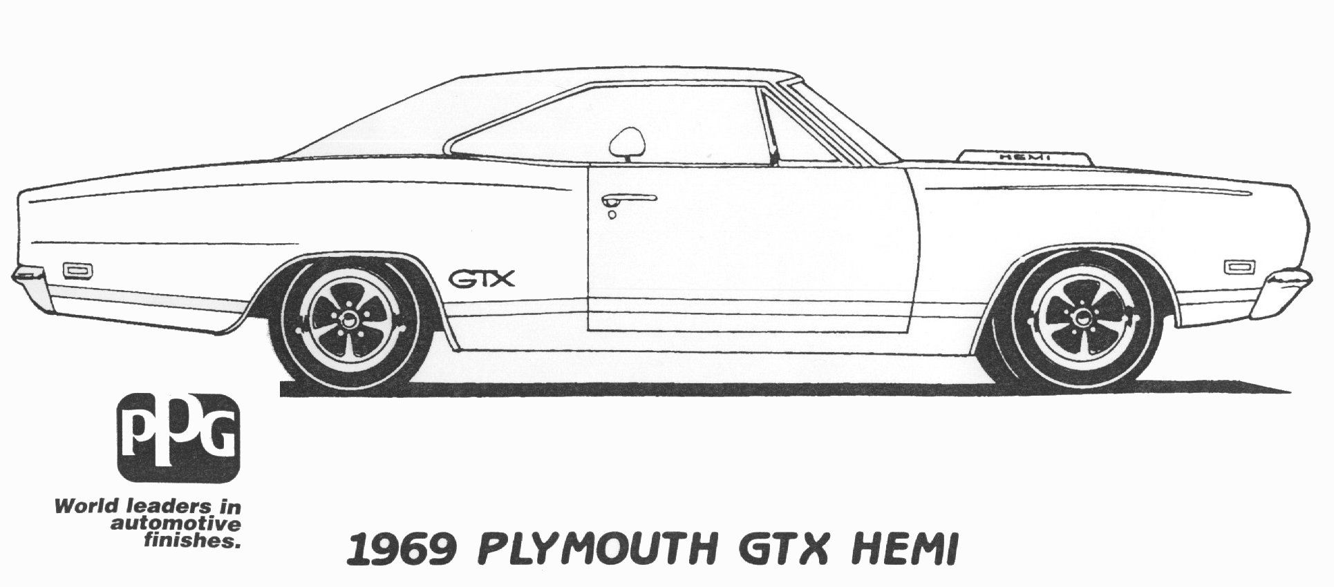 1969 Plymouth Gtx Hemi Coloring Page Ppg Cars Pinterest