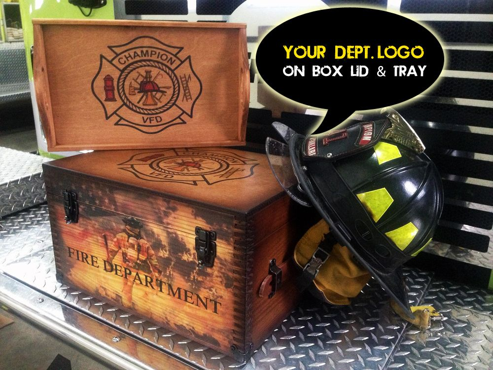 Fire department gifts wooden keepsake box is customized