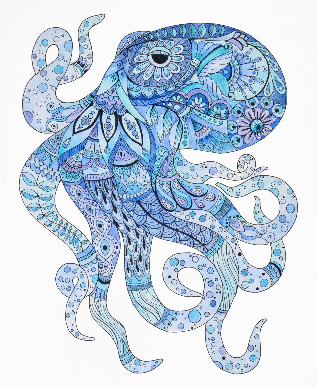 Octopus art, octopus zentangle, octopus wall art, blue art