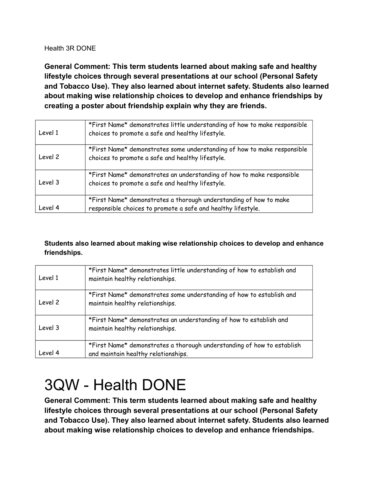 Grade 3 And 5 Health And Social Report Card Comments Resource Preview