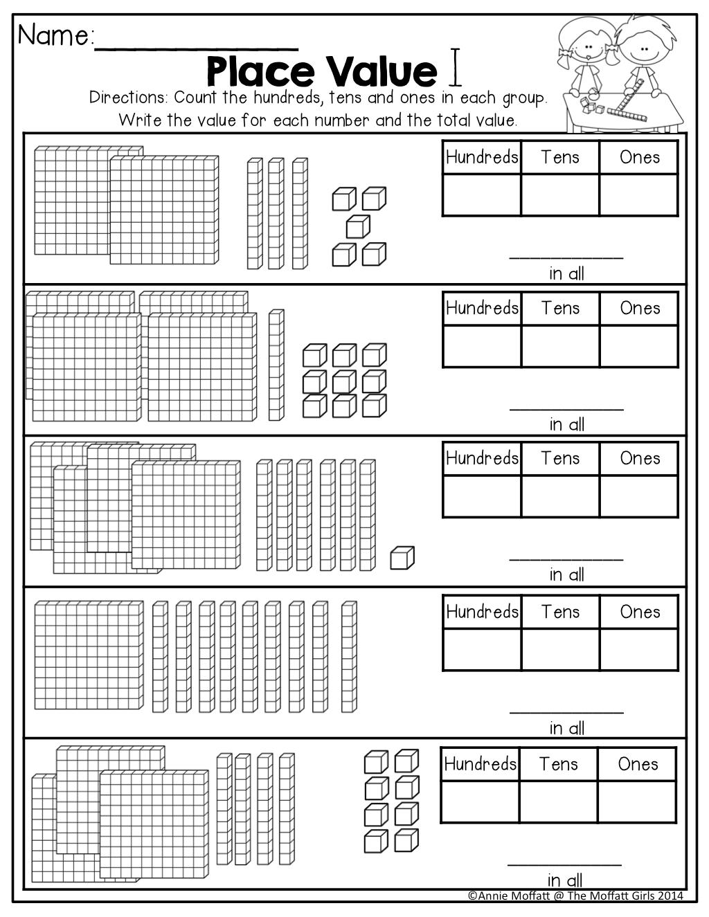 Comfortable Place Value 2nd Grade Worksheet Kidz