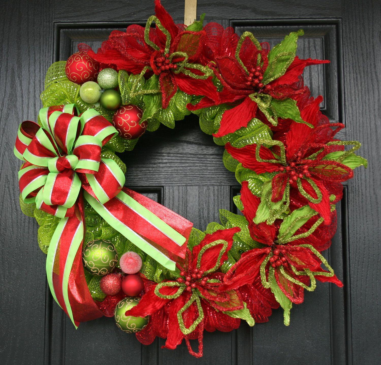 Modern Traditional Christmas Deco Mesh Wreath. 149.99