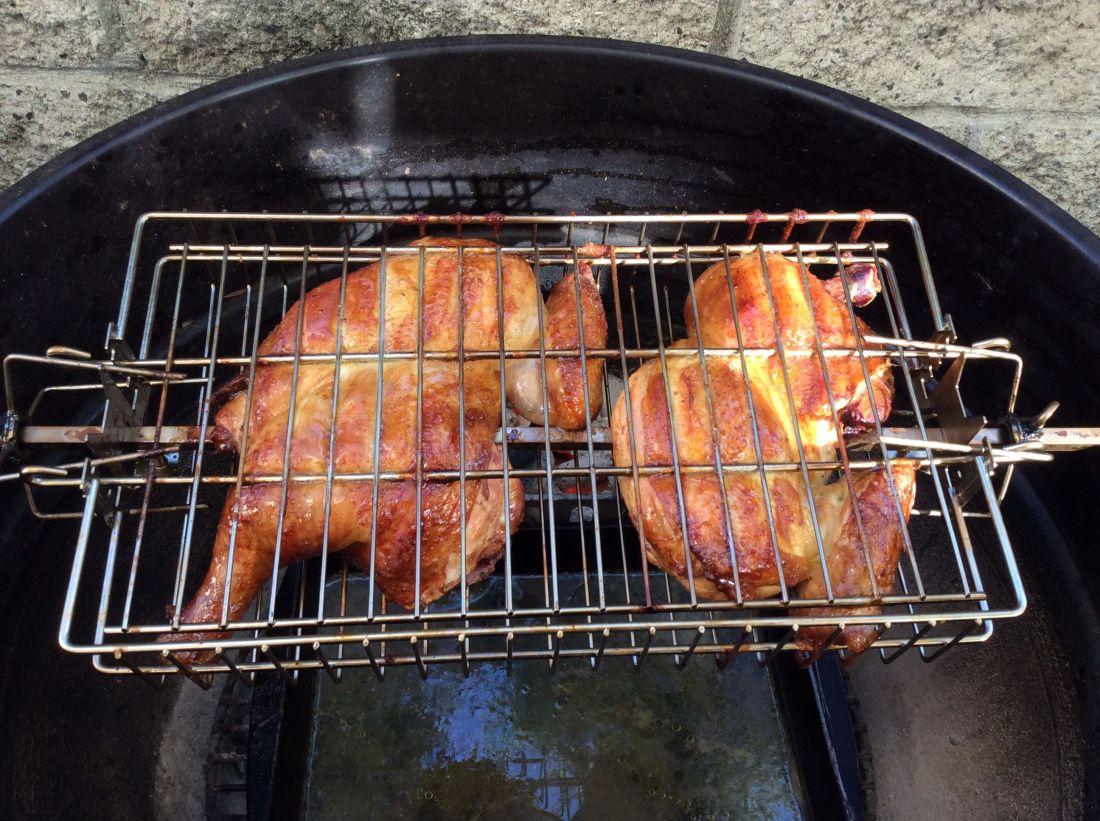 Cornell bbq chicken in a rotisserie basket bbq pinterest