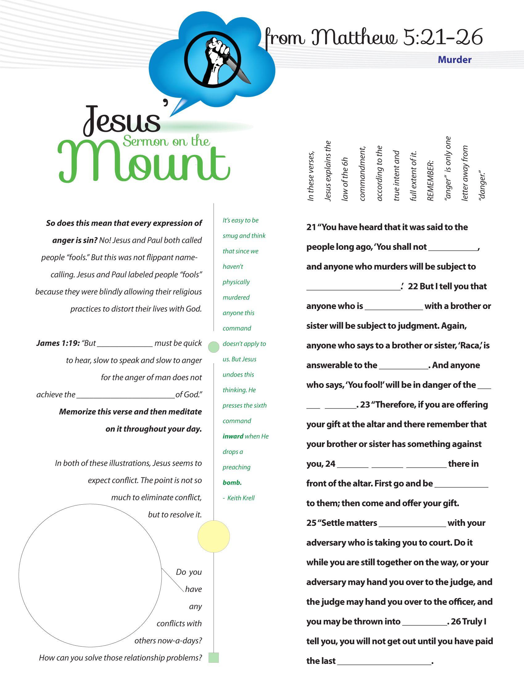 Worksheet To Teach Jesus Sermon On The Mount From Matthew