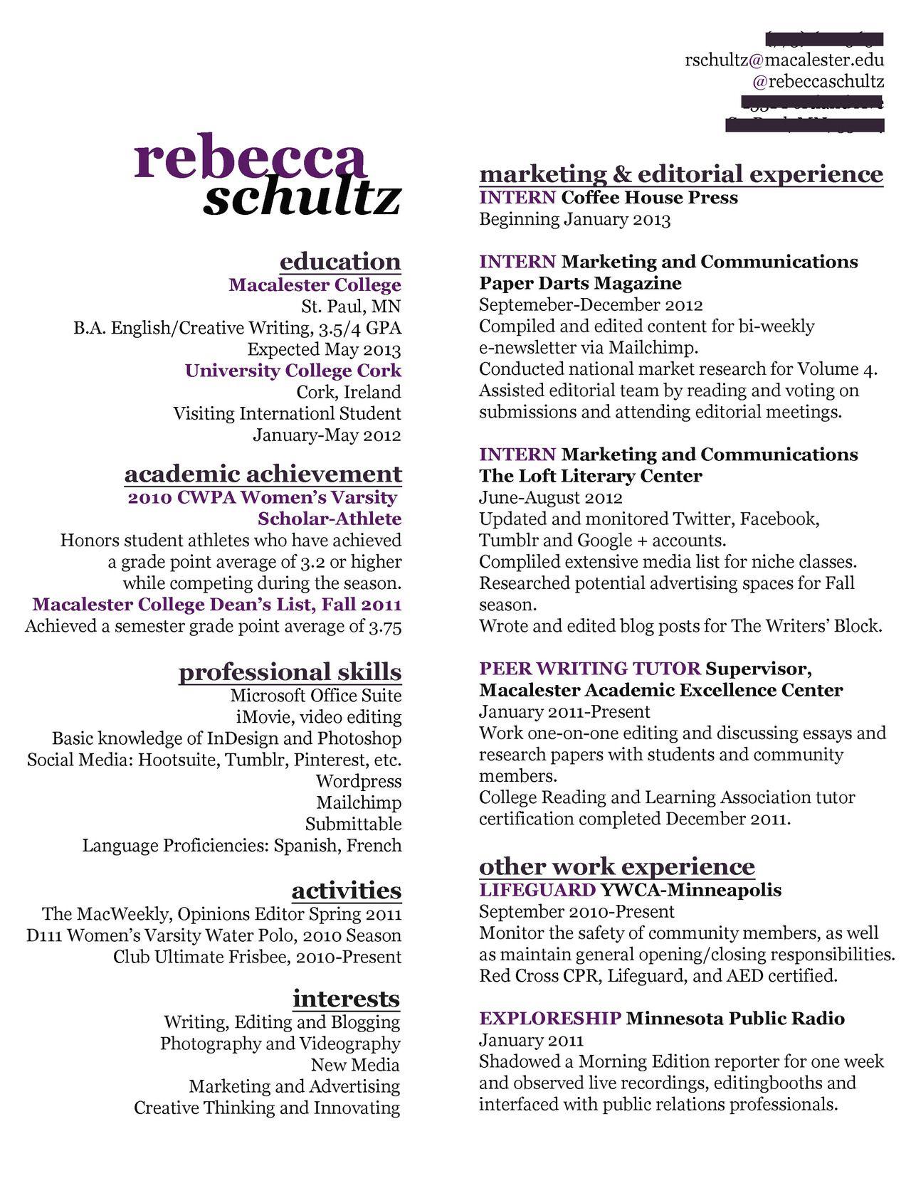 Creative resume, writer resume, entry level resume