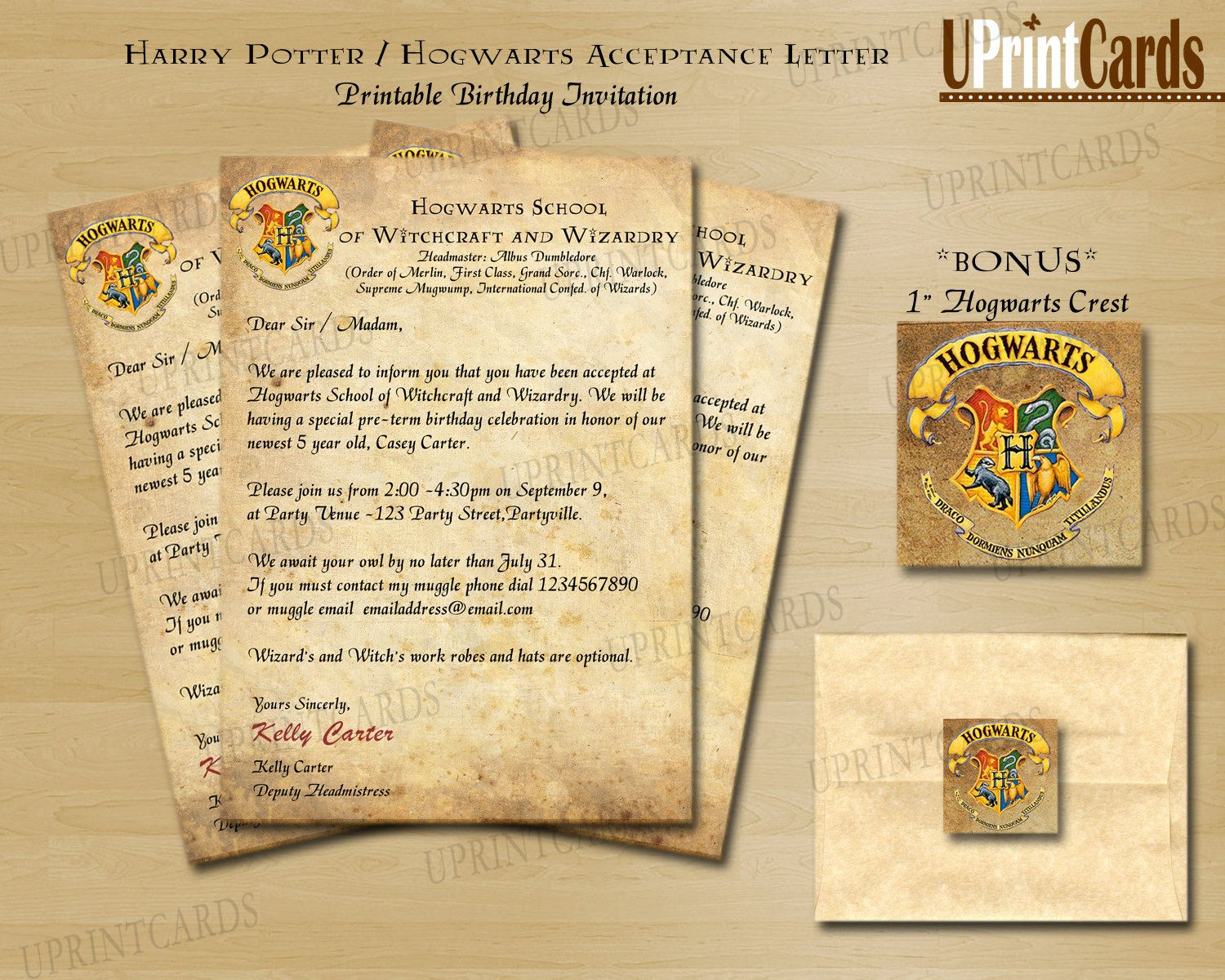 DIY Printable Harry Potter Inspired Acceptance by