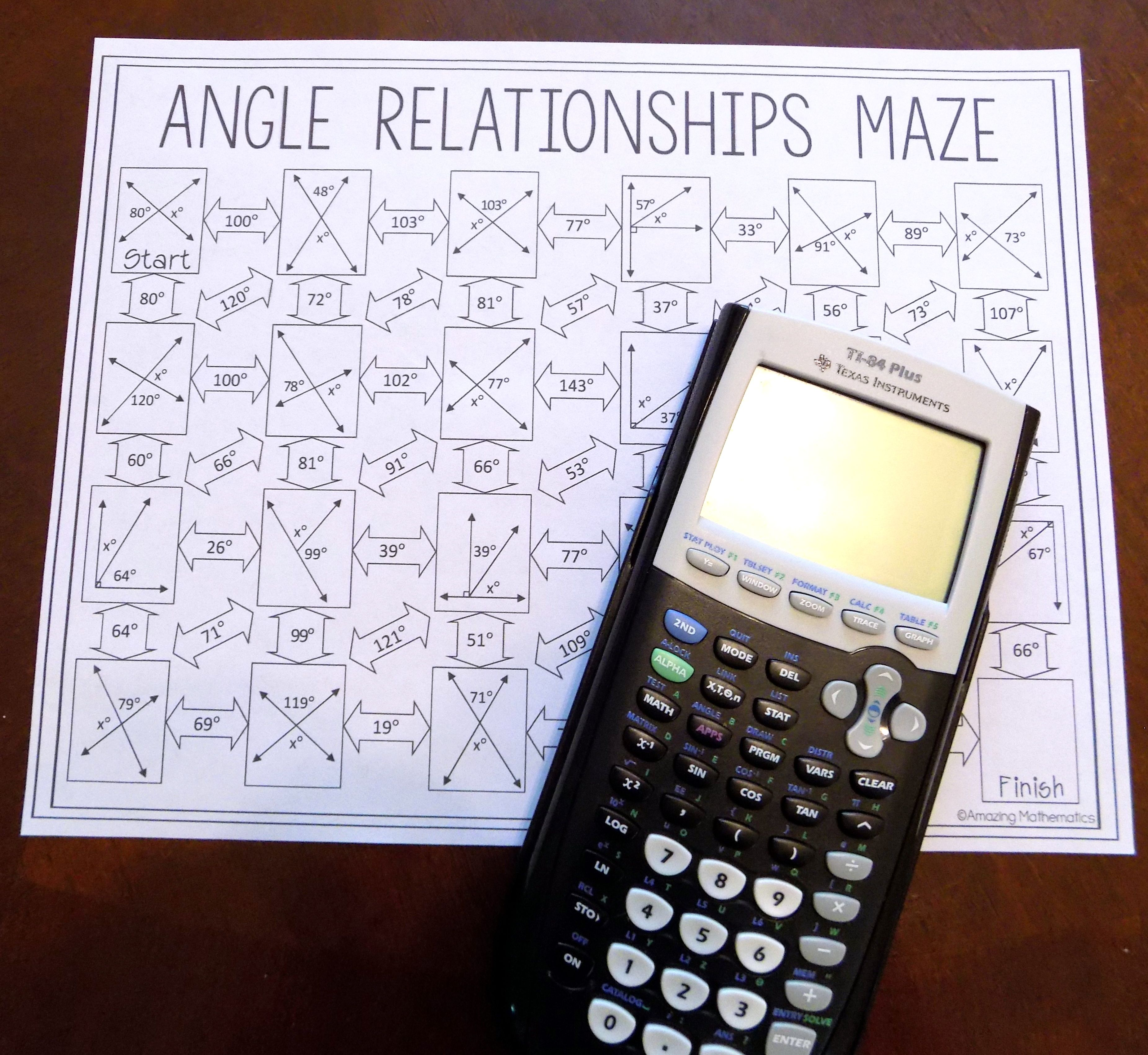 Angle Relationships Maze