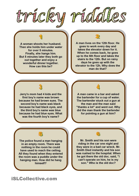 Tricky Riddles Riddles Pinterest Tricky riddles