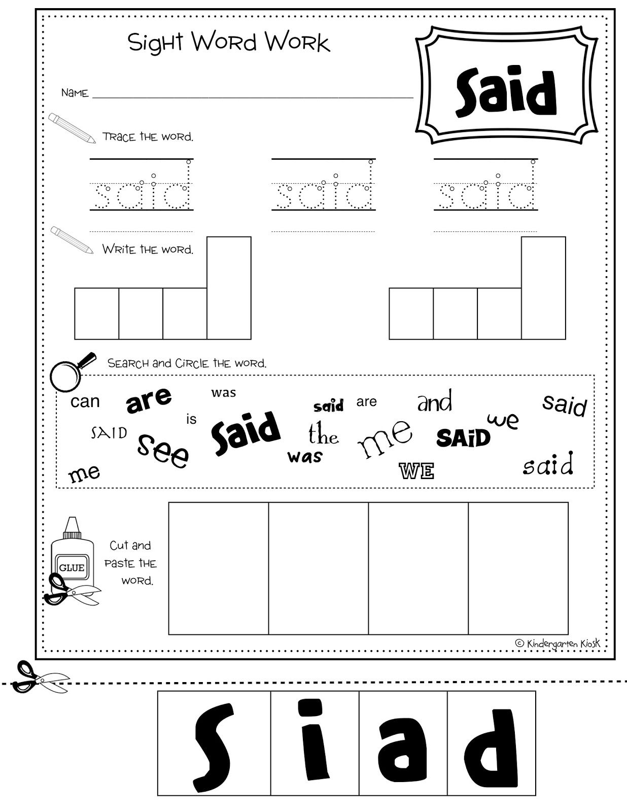 Make Sight Word Worksheets